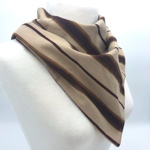 Accessories - Brown striped and floral triangle scarf
